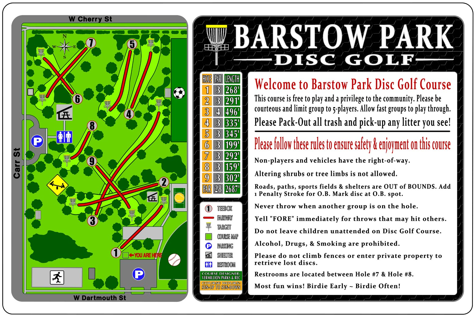 Wells Branch Disc Golf Signs  |Frisbee Golf Sign